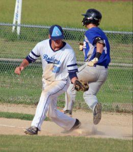 Close Play - Shane Boyer, UMB, beats the tag by Todd Hinkley, BJ Raiders, June 3 at Mid-America Sports Complex.