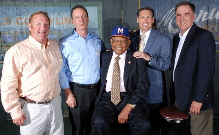 Gary Burns with his teammates and coach from the 1980 Milgram team. From left: Mitch Lubin, Tom Harvey, Coach Don Motley, Neil Harwell and Gary Burns.