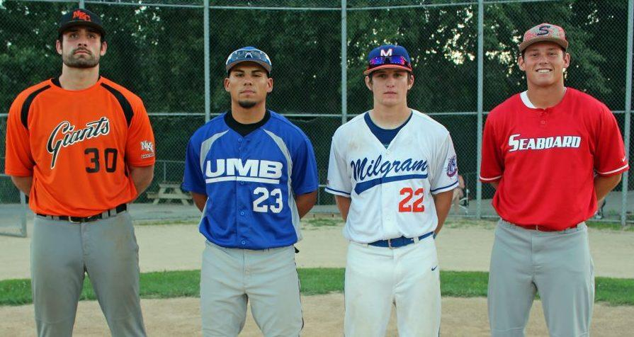 These all-stars took time out from the semifinals of the league tournament on July 20 at Mid-America Sports Complex in Shawnee, KS. (from left) Wesley Denzler, NKC Apartments Giants, John Lozano, UMB Bank, Derek Hussey, Milgram Mustangs, and Mitchell Rogers, Seaboard.